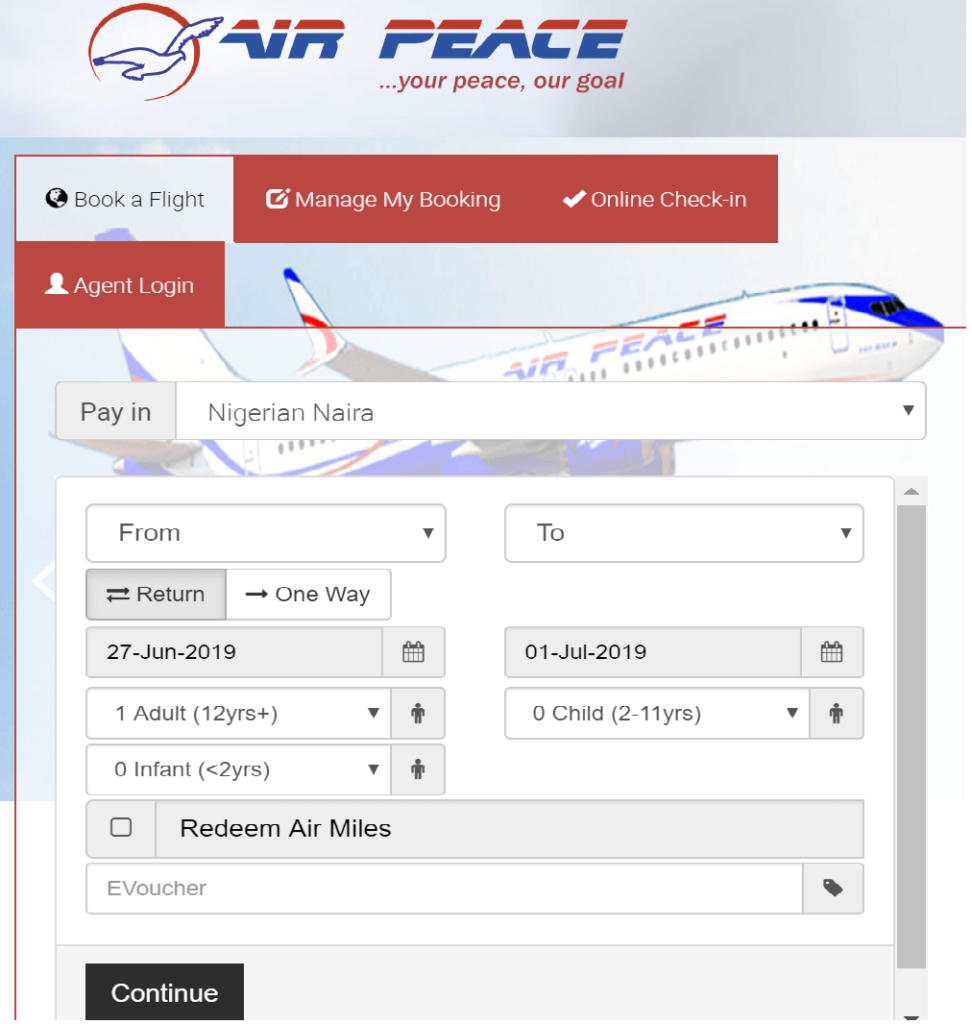 Air Peace Online Flight Booking